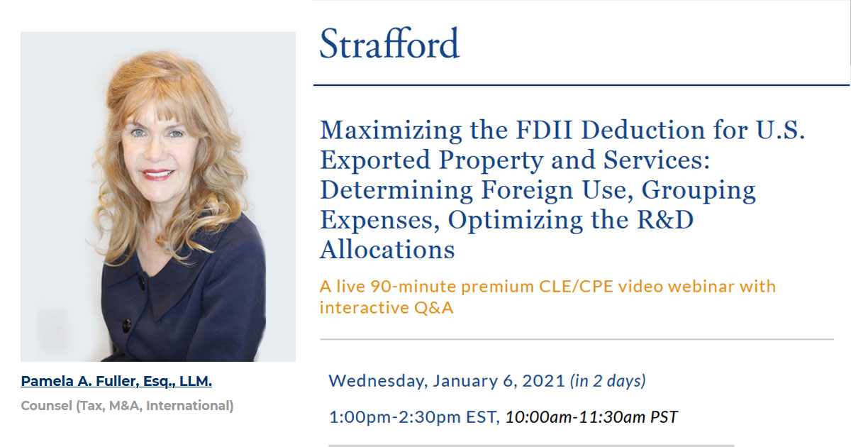 Maximizing the FDII Deduction for U.S. Exported Property and Services: Determining Foreign Use, Grouping Expenses, Optimizing the R&D Allocations,Zahn Law Media Portal